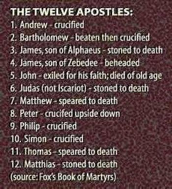 The12discipleslist of death